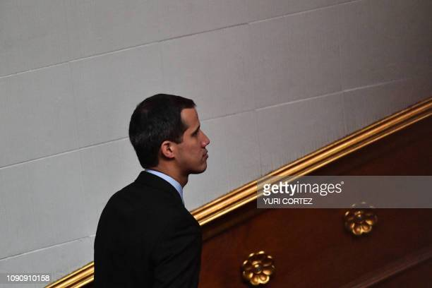 Venezuela's National Assembly head and selfproclaimed acting president Juan Guaido is pictured during a session at the National Assembly in Caracas...