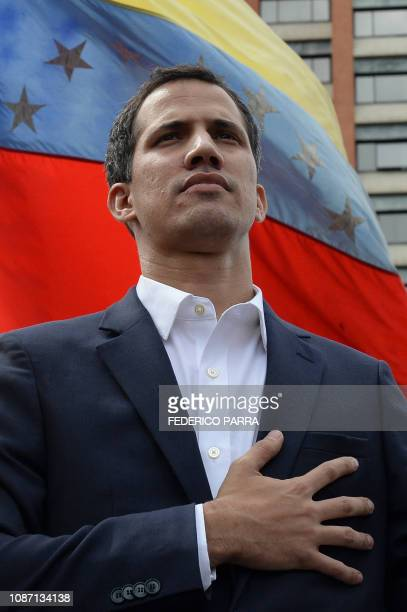 Venezuela's National Assembly head Juan Guaido declares himself the country's acting president during a mass opposition rally against leader Nicolas...