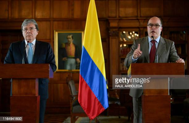 Venezuela's National Assembly leader and self-proclaimed acting president Juan Guaido's appointed new Commissioner for Foreign Affairs, Julio Borges...