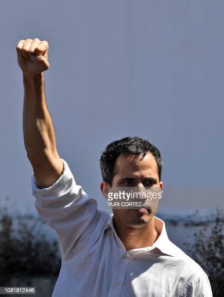 Venezuela's National Assembly president Juan Guaido gestures before a crowd of opposition supporters during an open meeting in Caraballeda Vargas...
