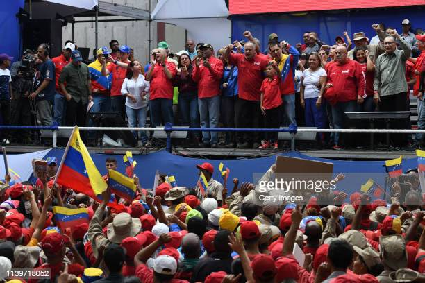 Venezuela's National Constituent Assembly President Diosdado Cabello and Venezuelan Foreign Minister Jorge Arreaza during a demonstration to back up...