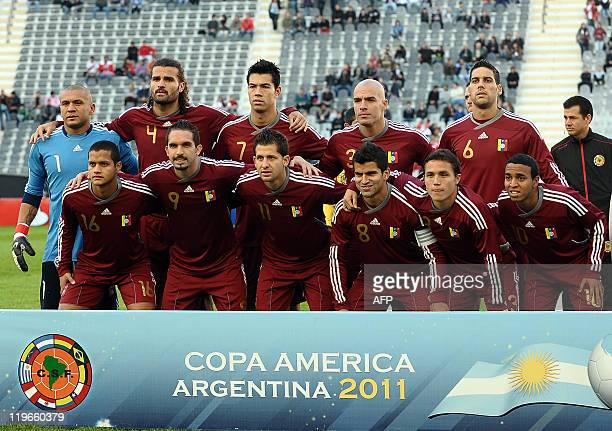Venezuela's national football team pose before the thirdplace match against Peru of the 2011 Copa America football tournament held at the Ciudad de...