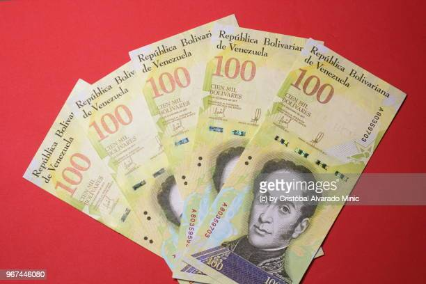 Venezuela's New 100,000-Bolivar Bills, Red Background