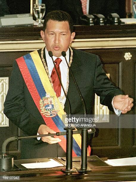 Venezuela's newlyinaugurated President Hugo Chavez addresses the Venezuelan Congress shortly after receiving the presidential sash in Caracas 02...
