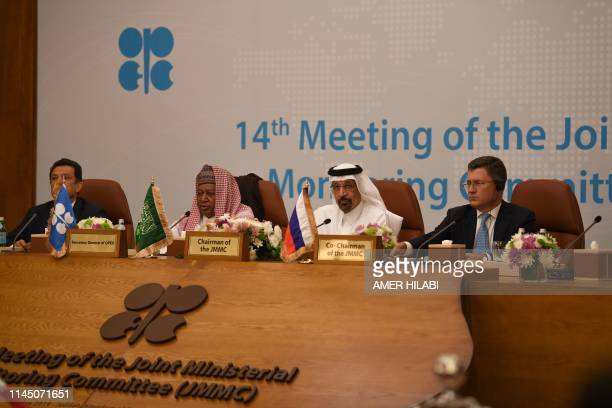 Venezuela's Oil Minister Manuel Quevedo Secretary General of OPEC Mohammed Barkindo Saudi Arabia's Energy Minister Khalid alFalih and Russia's Energy...