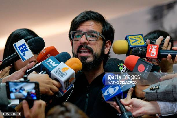 Venezuela's oppositionled National Assembly Deputy Miguel Pizarro speaks to the press after a consultation commission meeting at the Federal...