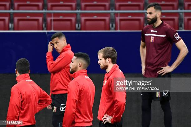 Venezuela's players attend a training session at the Wanda Metropolitano stadium in Madrid on March 21 2019 on the eve of an international friendly...