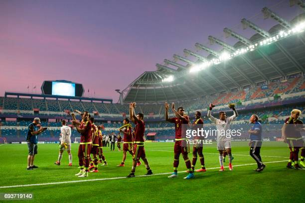 Venezuela's players celebrate their victory during the U20 World Cup semifinal football match between Uruguay and Venezuela in Daejeon on June 8 2017...