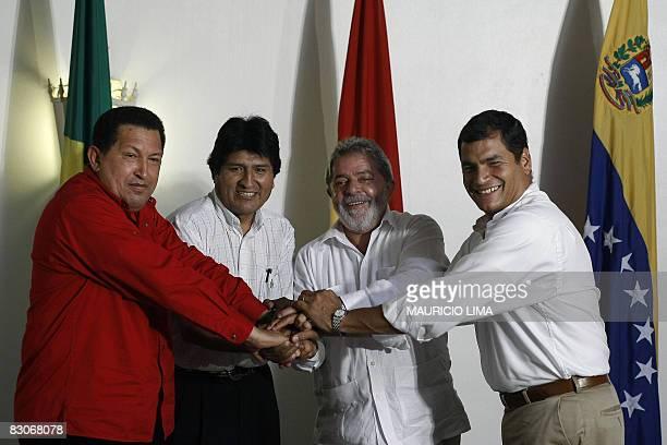 Venezuela's President Hugo Chavez Bolivia's President Evo Morales Brazil's President Luiz Inacio Lula da Silva and Ecuador's President Rafael Correa...