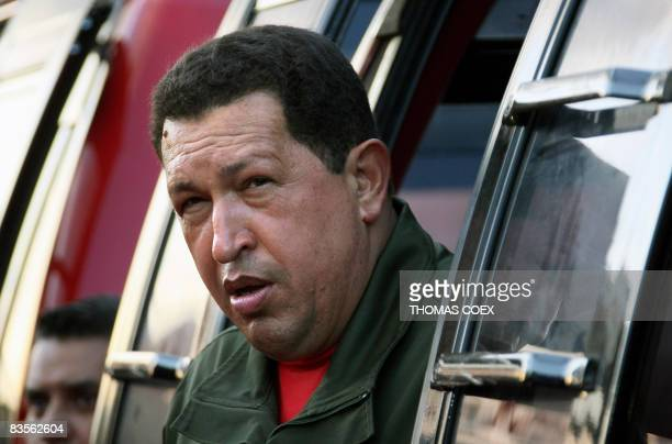 Venezuela's President Hugo Chavez gestures during the inauguration of a cable metro in Caracas on November 4 2008 Chavez an archcritic of the United...
