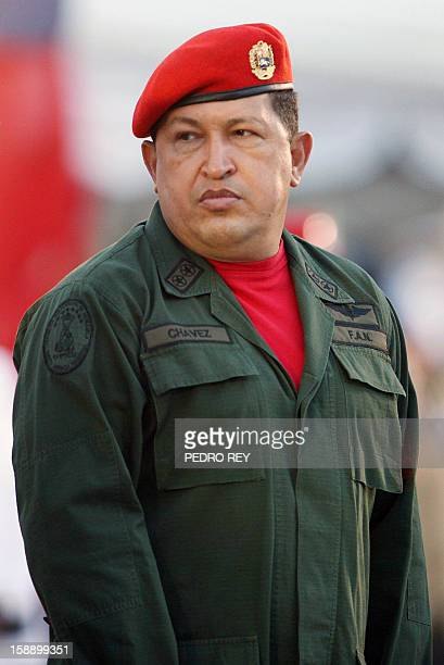 Venezuela's President Hugo Chavez takes part in the instalation ceremony of his new Minister of Defense Gral Gustavo Rangel Briceno at the Tiuna Fort...