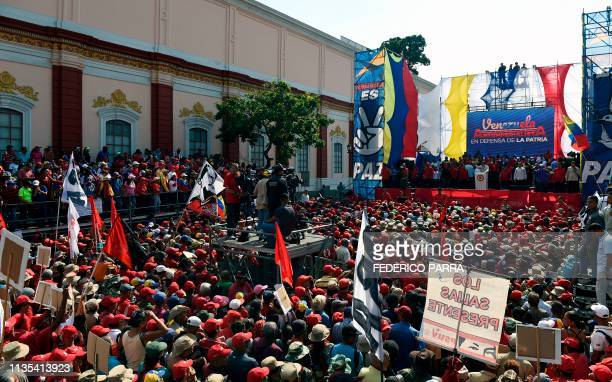 Venezuela's President Nicolas Maduro addresses supporters during a rally at the Miraflores Palace in Caracas Venezuela on April 6 2019 Venezuela's...