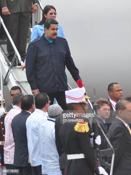 Venezuela's President Nicolas Maduro arrives in Panama City on April 10 2015 to take part in the VII Americas Summit Regional leaders begin to arrive...