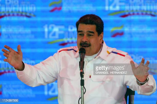Venezuela's President Nicolas Maduro gestures while delivering a speech in the framework of the 'Youth Day' celebrations at the Bolivar Square in...