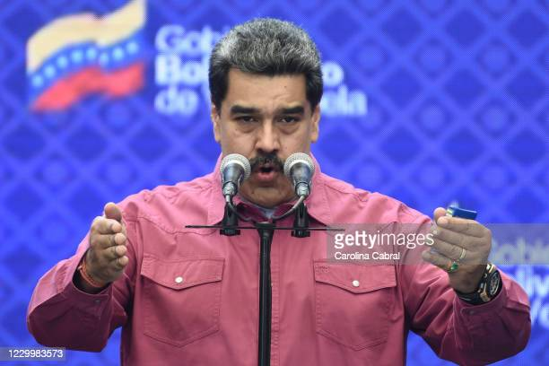 Venezuela's President Nicolas Maduro gives a speech after he voted at Ecological School Simon Rodriguez on December 6, 2020 in Caracas, Venezuela....