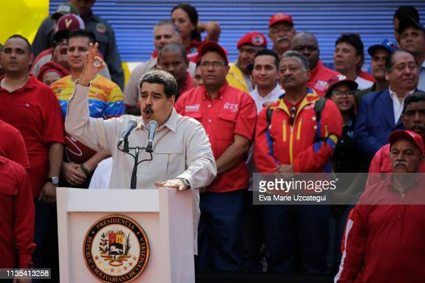 Venezuela´s President Nicolas Maduro speaks during a gathering with supporters outside Miraflores Palace on April 6 2019 in Caracas Venezuela...
