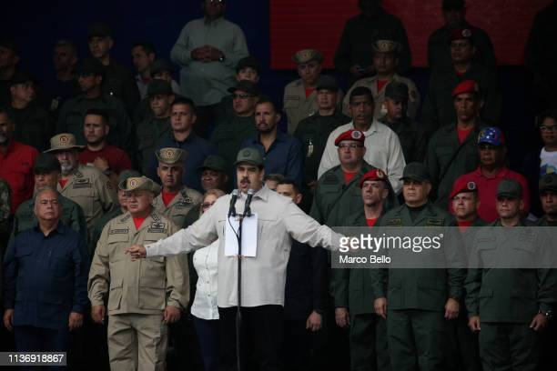 Venezuela's President Nicolas Maduro speaks during a military parade to commemorate the Day of the Bolivarian Militias, the Armed People and the...