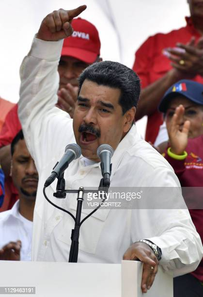 Venezuela's President Nicolas Maduro speaks during a rally at the Miraflores Presidential Palace in Caracas Venezuela on March 9 2019 Maduro stated...