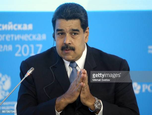 Venezuela's President Nicolas Maduro speaks during the plenary session of Russian Energy Week in Moscow Russia October2017
