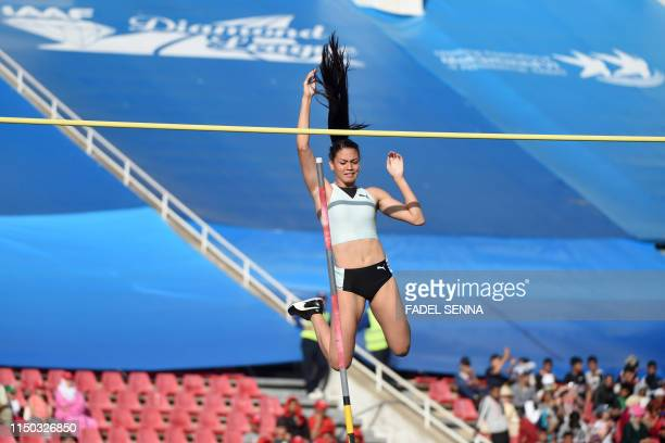 Venezuela's Robellys Peinado competes in the women's pole vault during the IAAF Diamond League competition on June 16 2019 in Rabat