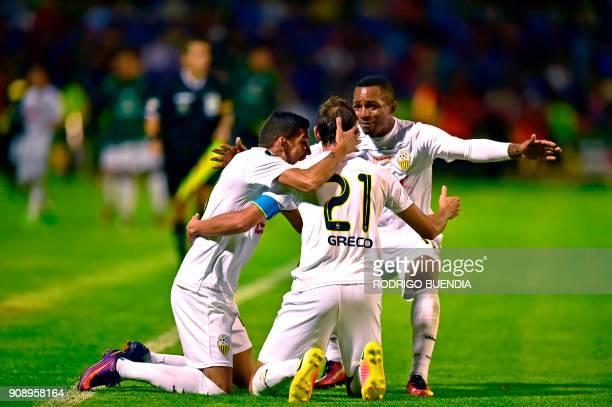 Venezuela´s Tachira player Edgar Perez celebrates his goal during their 2018 Copa Libertadores football match at Bellavista stadium in Ambato Ecuador...