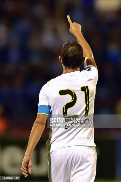Venezuela´s Tachira player Edgar Perez celebrates his goal during their Copa Libertadores 2018 football match against Ecuador's Macara at Bellavista...
