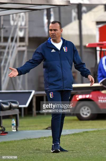Venezuela's team coach Rafael Dudamel gestures during a U21 quadrangular International tournament football match against Chile at Defensores del...