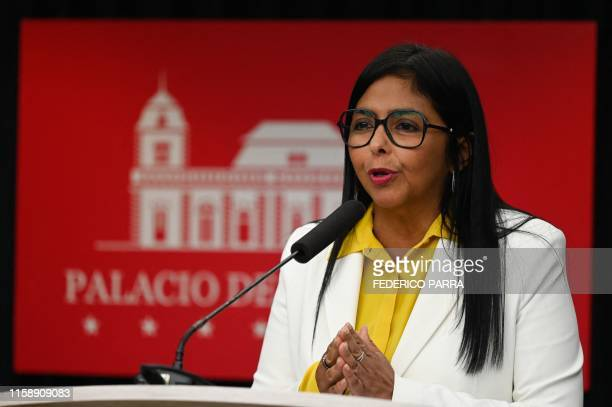 Venezuela's Vice President Delcy Rodriguez speaks during a press conference at Miraflores Presidential Palace in Caracas on July 31, 2019. -...