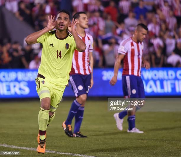Venezuela's Yangel Herrera celebrates after scoring against Paraguay during their 2018 World Cup football qualifier match in Asuncion on October 10...