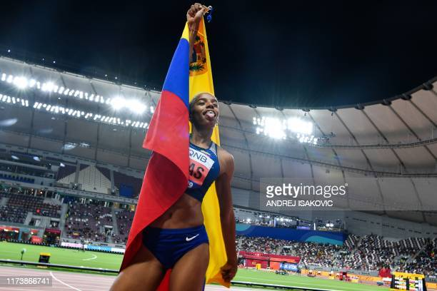 Venezuela's Yulimar Rojas celebrates gold in the Women's Triple Jump final at the 2019 IAAF Athletics World Championships at the Khalifa...