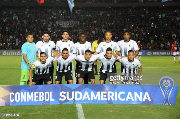 Venezuela's Zamora football team poses for a picture before Copa Sudamericana football match against Argentin's Colon at the Brigadier General...