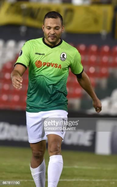 Venezuela's Zamora player Juan Falcon celebrates his goal against Paraguay's Guarani during their Copa Libertadores 2017 football match at the...