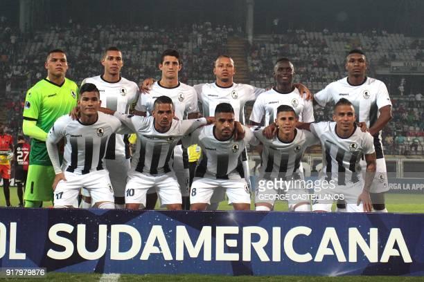 Venezuela's Zamora players pose for photos before their Copa Sudamericana football match against Argentina's Colon in Barinas Venezuela on February...