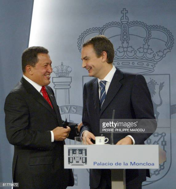 Venezuelian President, Hugo Chavez jokes with Spanish Prime Minister, Jose Luis Rodriguez Zapatero during their joined news conference in Moncloa...