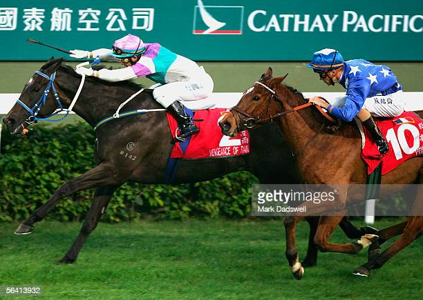 Vengeance Of Rain ridden by Anthony Delpech wins the Cathay Pacific Hong Kong Cup from Pride during the Cathay Pacific International Races at Shatin...