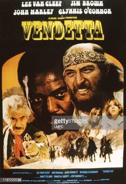 Vengeance, poster, , US poster art, back from left: John Marley, Jim Brown, Lee Van Cleef; front from left: Glynnis O'Connor, Leif Garrett, 1977.