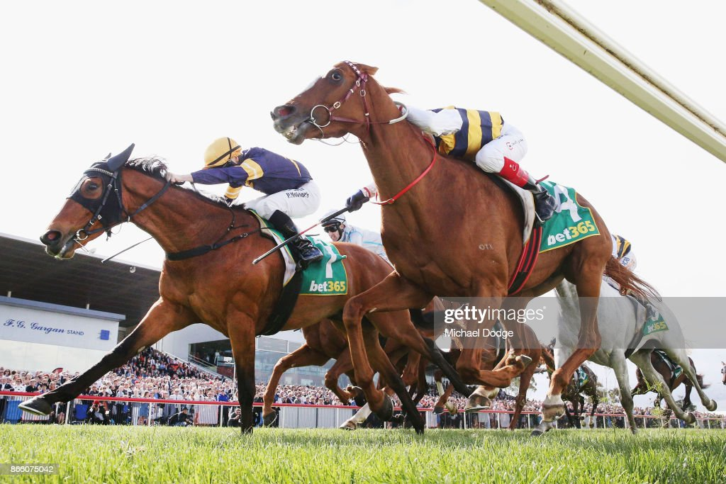 Vengeur Masque (L) ridden by Patrick Moloney wins race 7 the bet365 Geelong Cup ahead of Craig Williams riding Gallic Chieftain during Melbourne Racing at Geelong Racecourse on October 25, 2017 in Melbourne, Australia.