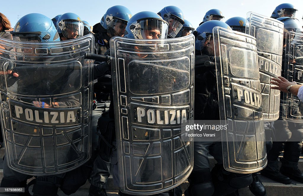 Venice 17 September 2011, Demonstrators clashed with the riot police at an annual protest march organised by social centres in Venice against Lega Nord.