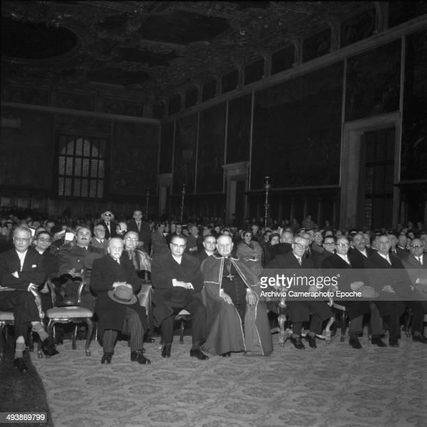 Venice 1956 Patriarca Roncalli with President Gronchi and Ponti