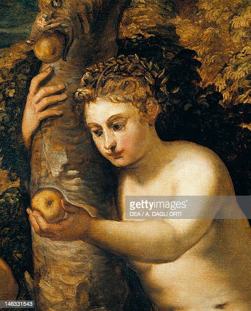 Venice Accademia Original sin 15501553 by Jacopo Robusti known as Tintoretto oil on canvas 150x220 cm Detail