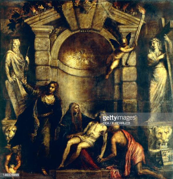 Venice Accademia Pieta 15751576 by Titian performed with the help of Jacopo Negretti known as Palma the Younger oil on canvas 389x351 cm