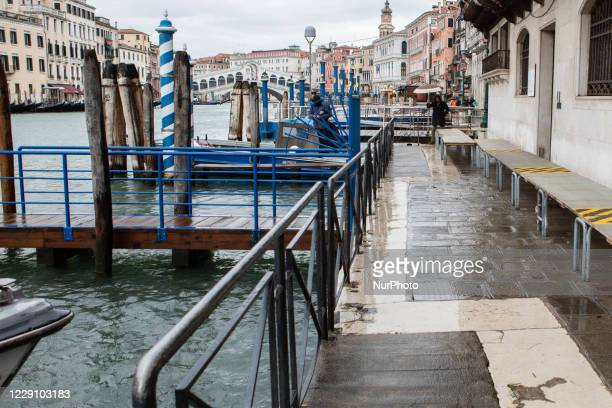 Venice after the activation of Mose during the hight tide in Venice, Italy on October 15, 2020.