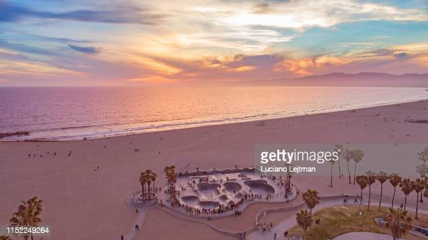 venice beach aerial skatepark - santa monica stock pictures, royalty-free photos & images