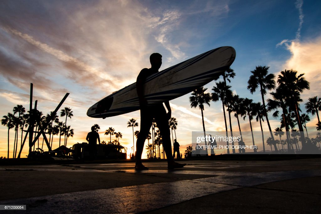 Venice Beach at sunset : Stock Photo