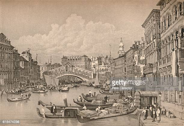 Venice' c1830 Gondolas on the Grand canal Venice with Rialto Bridge From Sketches by Samuel Prout edited by Charles Holme [The Studio Ltd London...