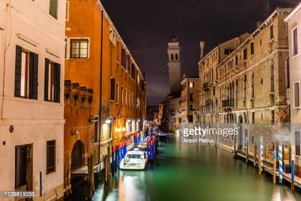 Venice canal at night. Italy