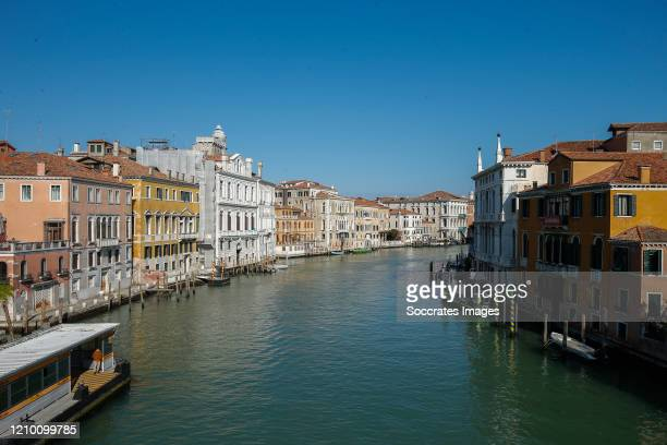 Venice canals are deserted due to the coronavirus lockdown aimed at curbing the spread of the COVID-19 infection, on April 16, 2020 in Venice, Italy....