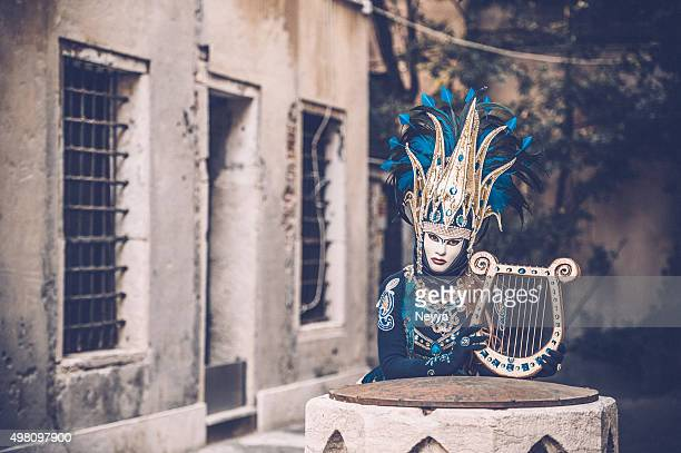 venice carnival 2015 - lyre stock photos and pictures