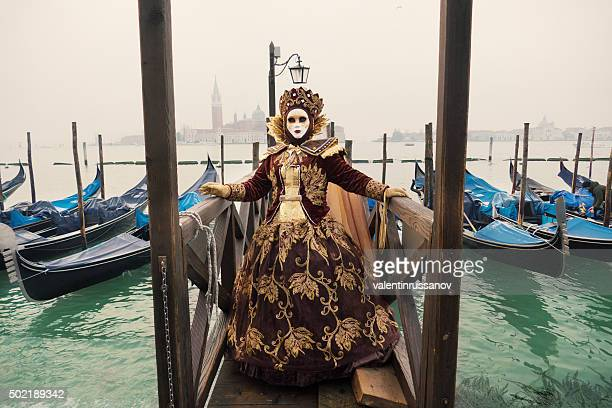 Venice Carnival at gondolas dock