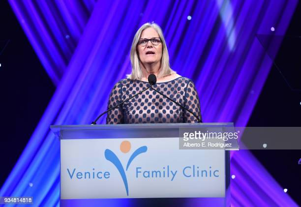 Venice Family Clinic CEO Elizabeth Benson Forer attend the Venice Family Clinic's 36th Annual Silver Circle Gal at The Beverly Hilton Hotel on March...